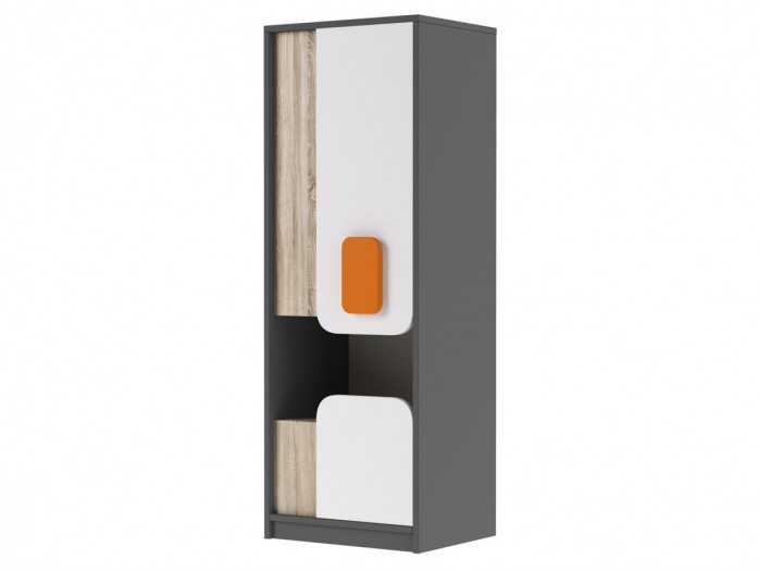 Cabinet JOGO with 1door and  drawer in Grey / Oak / White/Orange
