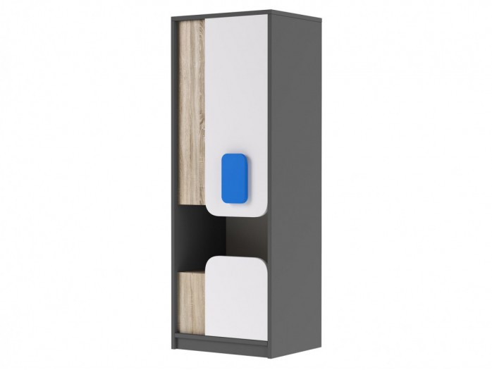 Cabinet JOGO with 1door and  drawer in Grey / Oak / White/Blue