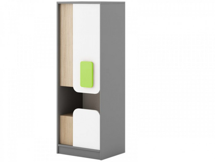 Cabinet JOGO with 1door and  drawer in Grey / Oak / White/Green