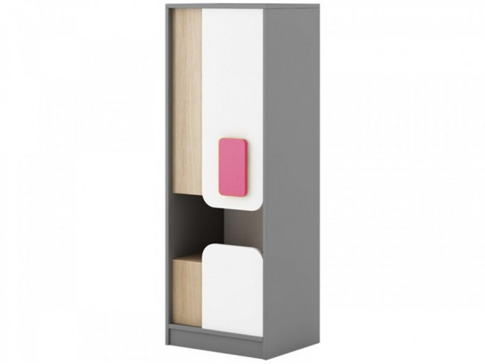 Cabinet JOGO with 1door and  drawer in Grey / Oak / White/Pink