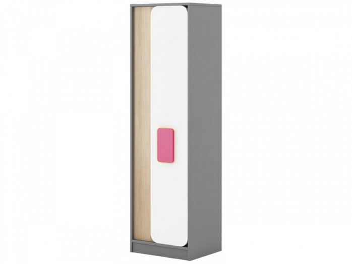 Cabinet Jogo in Grey / oak / White/ Pink