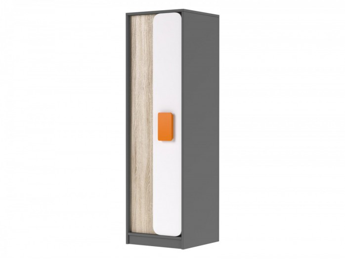 Cabinet Jogo in Grey / oak / White/ Orange