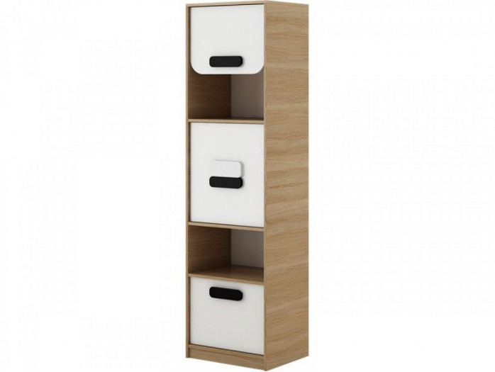 Highboard Gusto with  door and drawer oak natural / white