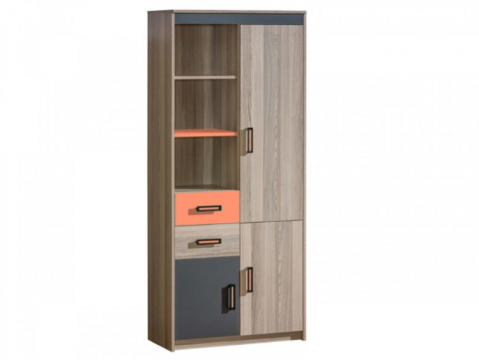 eckregal timo mit einer t r esche dunkel orange 106 95. Black Bedroom Furniture Sets. Home Design Ideas