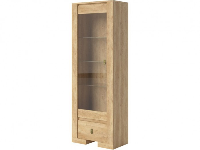 Display cabinet with 1 glass door and 1 drawer Nebraska Natural Oak