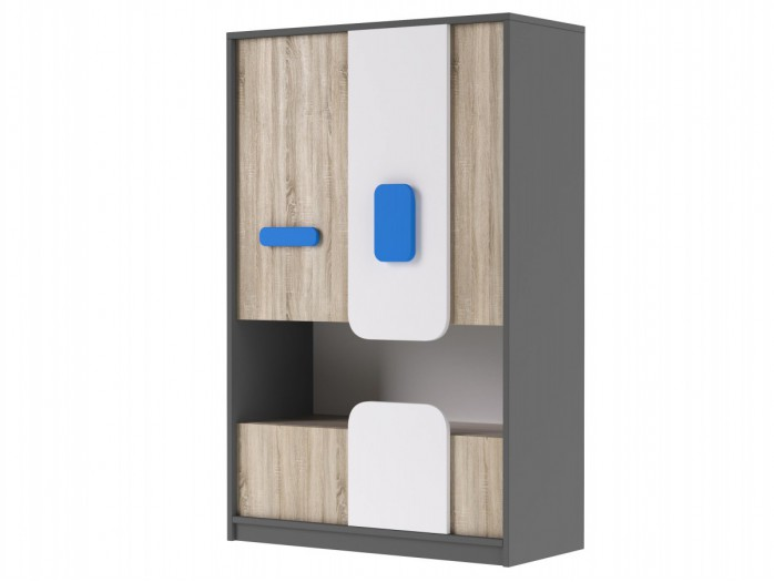 Cabinet JOGO in Grey / Oak / White/Blue