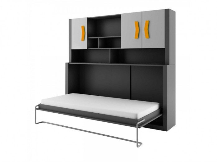 Wall bed Children Away bed Boomerang  Anthracite / Grey / Orange