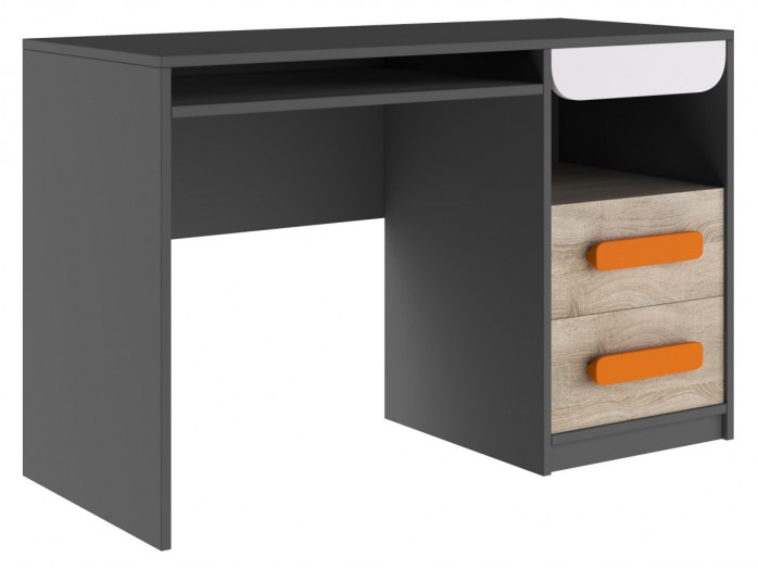 Desk Jogo with 2 drawers Grey/ Oak / White/ Orange