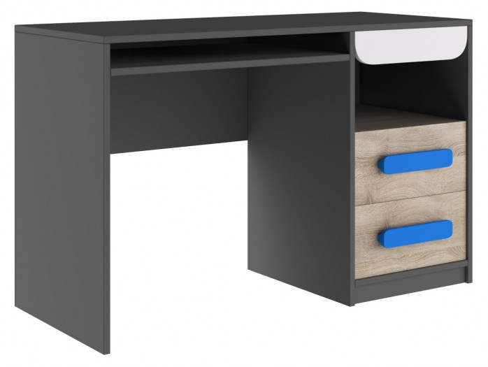 Desk Jogo with 2 drawers Grey/ Oak / White/ Blue