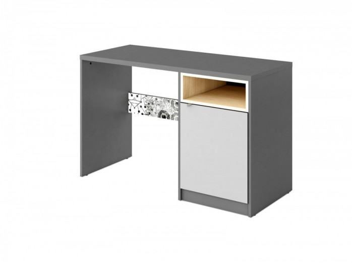 Desk  POKO  with1 door  Anthracite / light gray