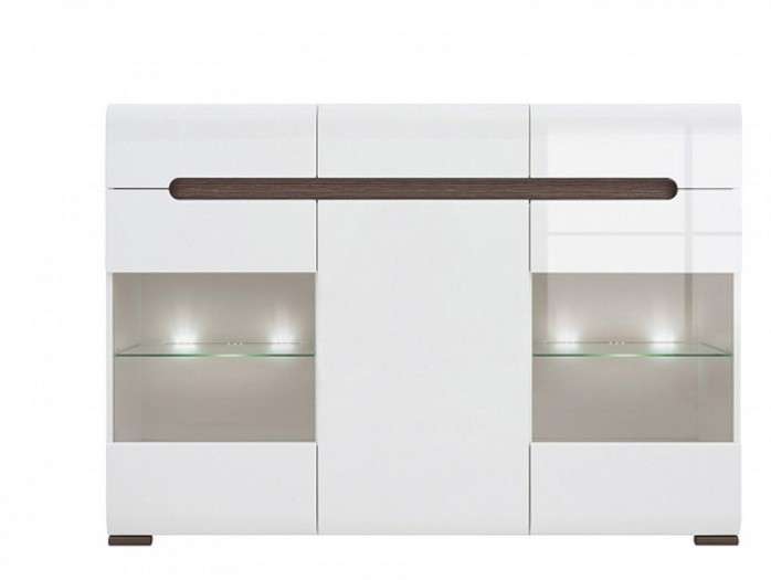 Sideboard Azteca with 2 glass doors white/white with gloss front