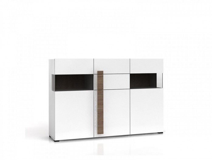 Sideboard white/ White high gloss  with 2 glass doors, 1 door and 2 drawers