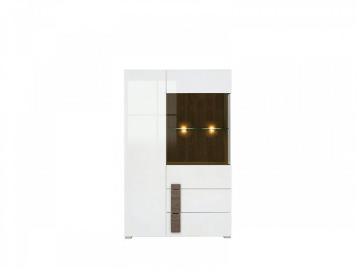 Showcase  White/ Whte high gloss  with 1 glass door, 1 wooden door and 2 drawers