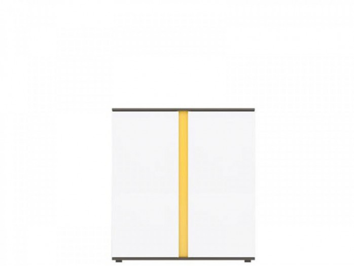 Standing cabinet with 2 doors  Grey /White gloss/ Yellow