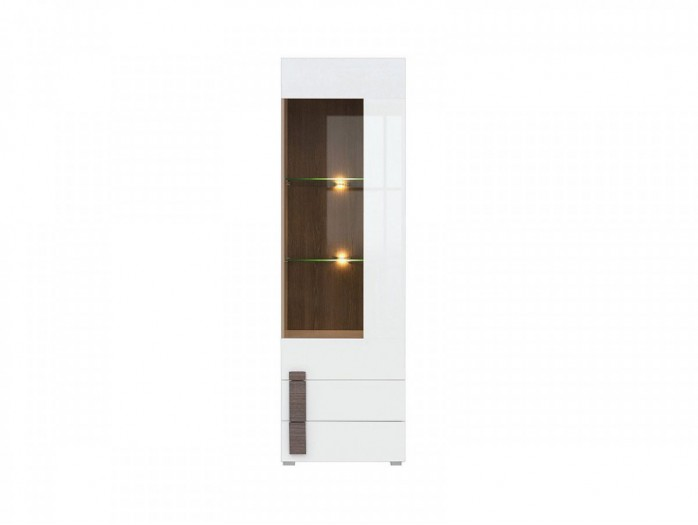 ShowcaseWhite/ White High gloss  with 1 glass door and 2 drawers
