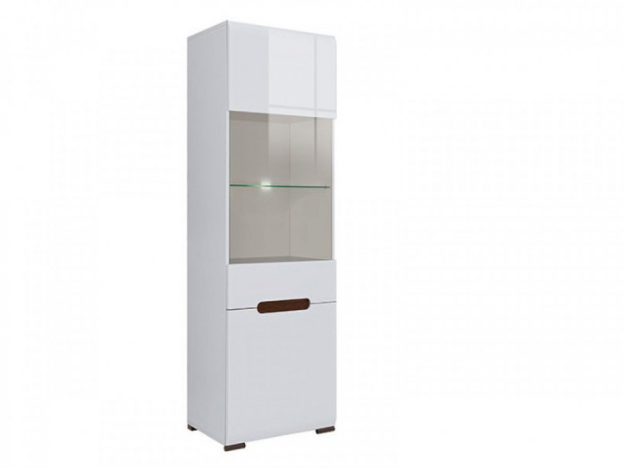 Stand-Showcase Azteca with glass-filled doors white/white with gloss front