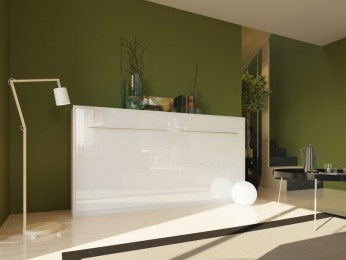Folding wall  bed 90cm Horizontal High Gloss White Front Smartbed