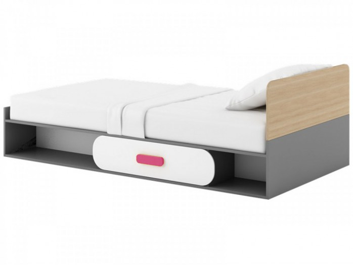 Cot JOGO  incl. Mattress White/ Oak / Pink
