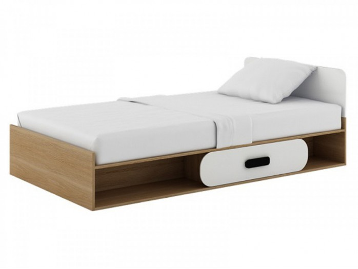 Child\'s bed with drawers Natur oak / white