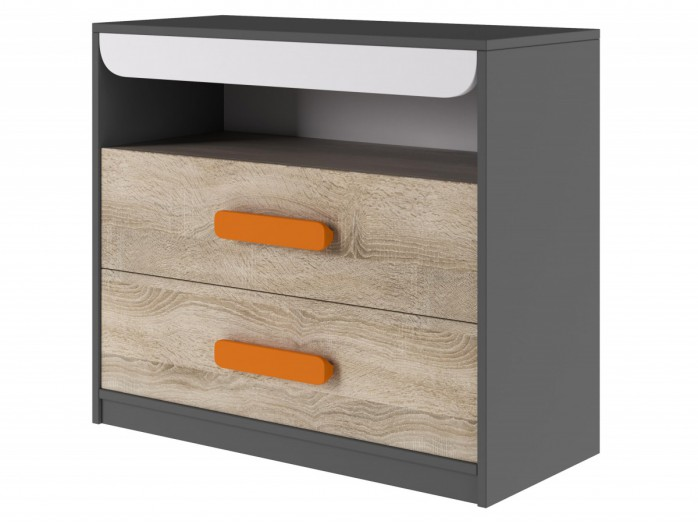 Chest with 2 drawers Grey/ Oak / White/ Orange