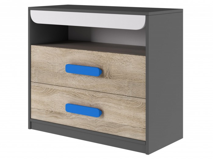 Chest with 2 drawers Grey/ OAk / White/ Blue
