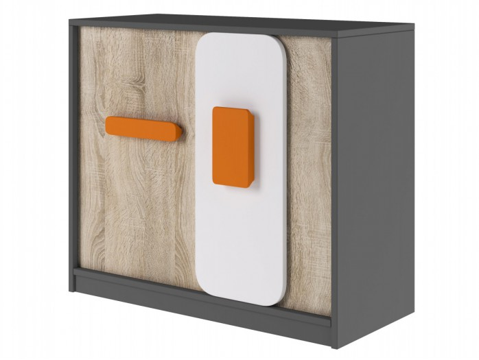 Dresser with 2 doors Grey/ Oak / White/Orange
