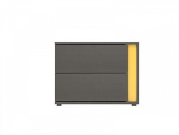 Bedside chest left  with 2 drawers  Grey / Yellow