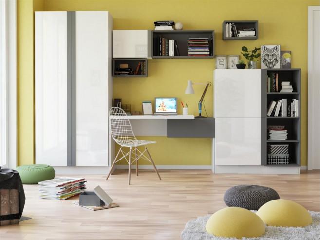 Jugendzimmer komplett weiß hochglanz  Modernes Jugendzimmer Komplett Set Yeti 03 (8 tlg.) Weiß/Wei&sz