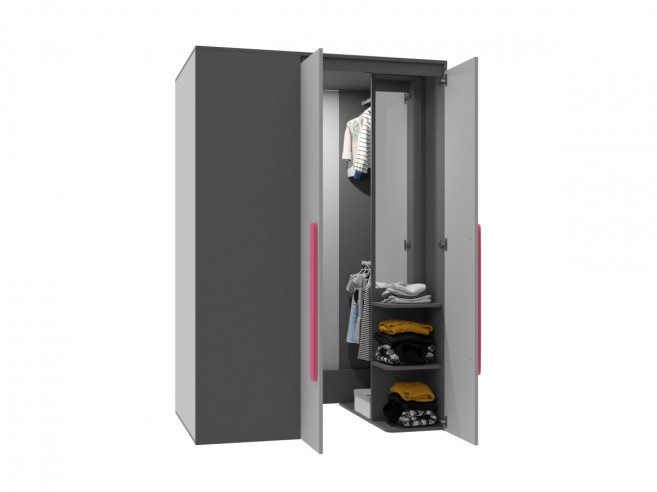 Walk-in closet Right Anthracite / Grey / Pink