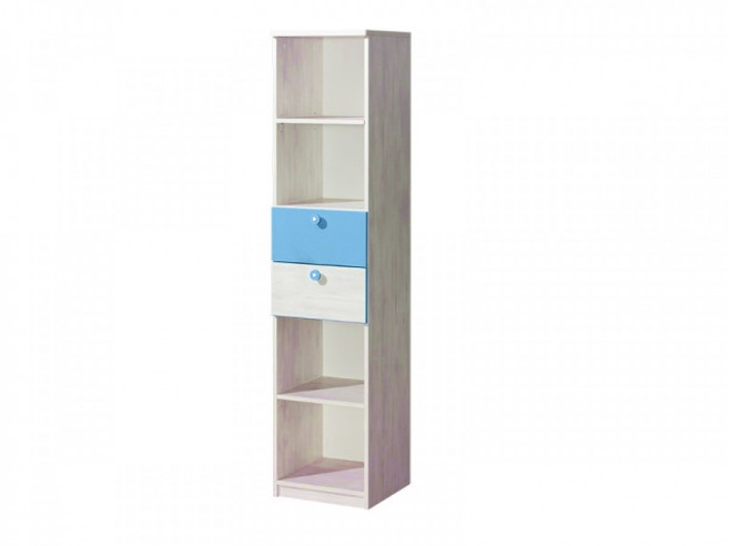 regal nemo mit zwei schubladen blau kiefer norwegen 118 60. Black Bedroom Furniture Sets. Home Design Ideas