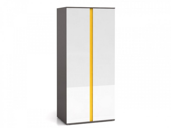 Wardrobe  Grey / White gloss / Yellow