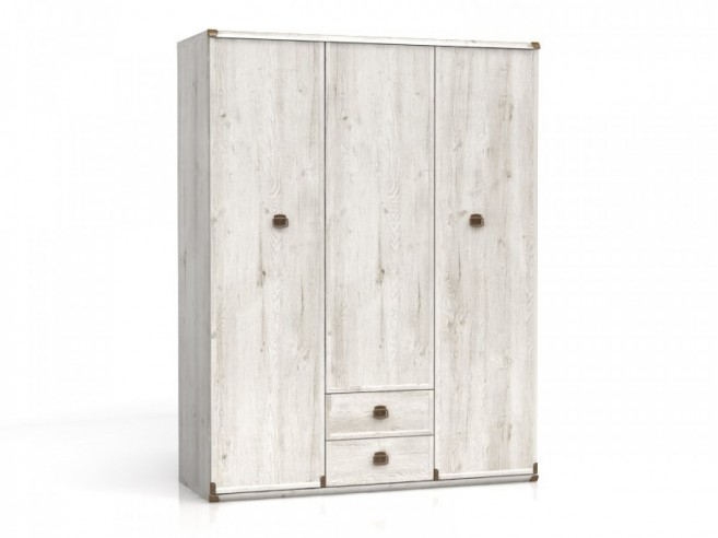 Wardrobe with 3 doors and 2 drawers Indiana  Pine Canyon