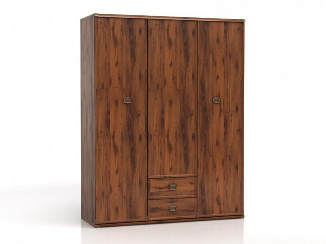 Wardrobe with 3 doors and 2 drawers Indiana  Oak