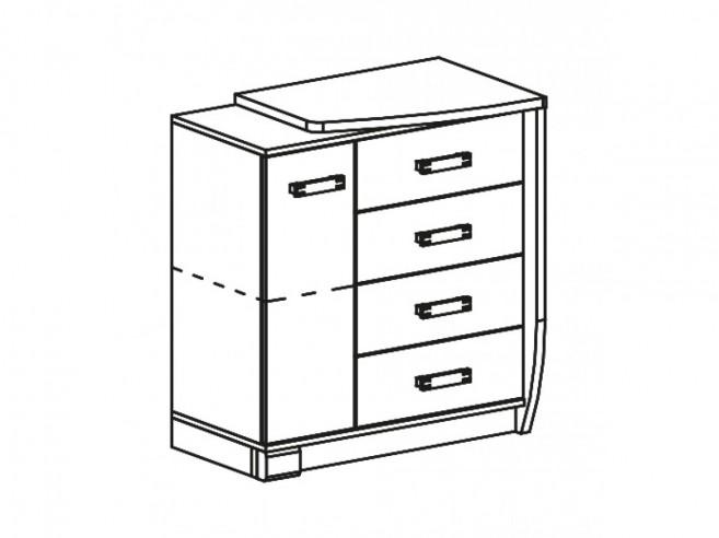 kommode romero rechts mit 1 t r und 4 schubladen eiche canyon arusha wenge 174 25. Black Bedroom Furniture Sets. Home Design Ideas