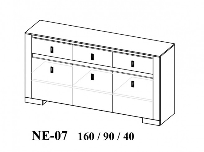 Dresser with 3 doors and 3 drawers Oak Nature