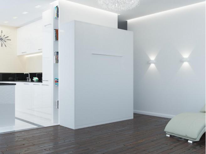 schrankbett 160cm vertikal weiss smartbett klappbett wandbett. Black Bedroom Furniture Sets. Home Design Ideas