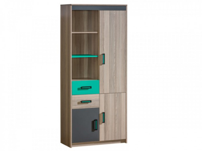 schrank regal mit 3 t ren und 2 schubladen und 3 f chern es. Black Bedroom Furniture Sets. Home Design Ideas