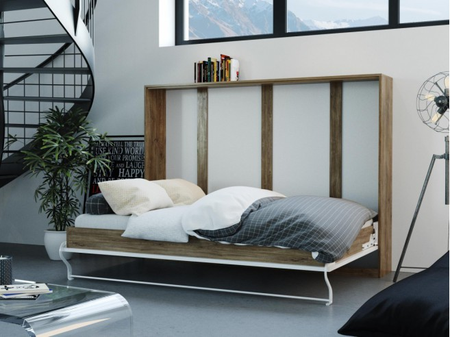 Folding wall bed 140cm horizontal Walnut with white high gloss  front SMARTBett