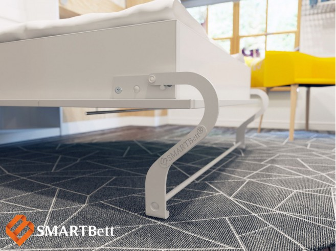 Folding wall bed SMARTBett 140cm horizontal Venge with White Front Metal bed base