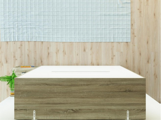 Folding wall bed SMARTBett 160cm Oak Sonoma /  White high glossy front