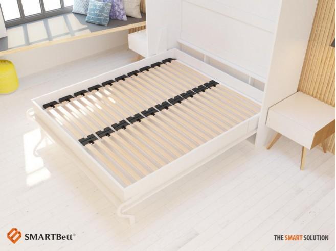 schrankbett 160 cm vertikal weiss komfort lattenrost. Black Bedroom Furniture Sets. Home Design Ideas