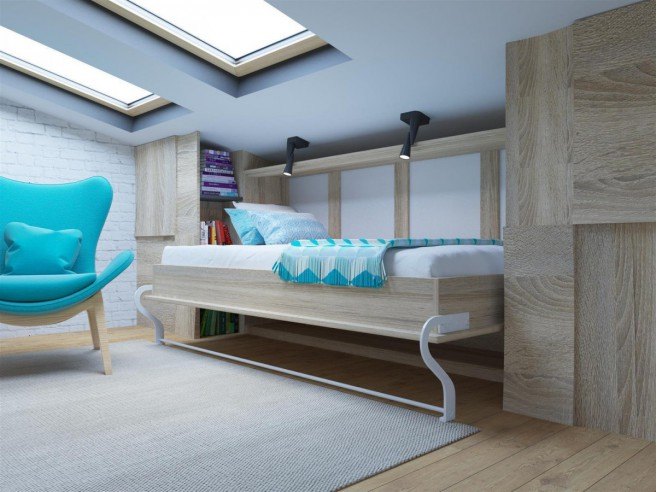 Horizontal Folding Beds : Folding wall bed smartbett cm horizontal oak sonoma