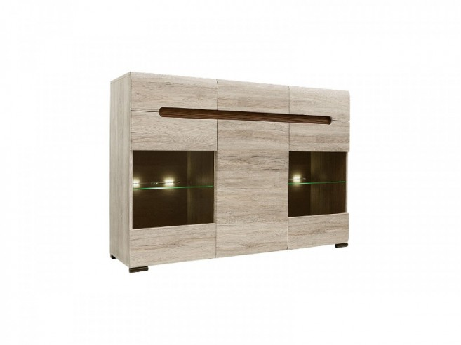 sideboard azteca with 2 glassdoors oak san remo 404 20. Black Bedroom Furniture Sets. Home Design Ideas