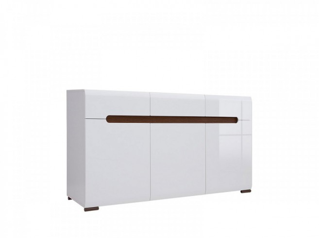 Sideboard with 3 doors and 3 drawers white/white with gloss front