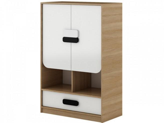 Kommode Gusto mit 2 Türen und Schublade Eiche Natur/Weiß,