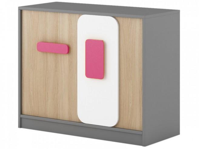 ... Schlafzimmer » Nachtkommoden » Kommode mit 2 Türen Grau/Eiche/Weiß