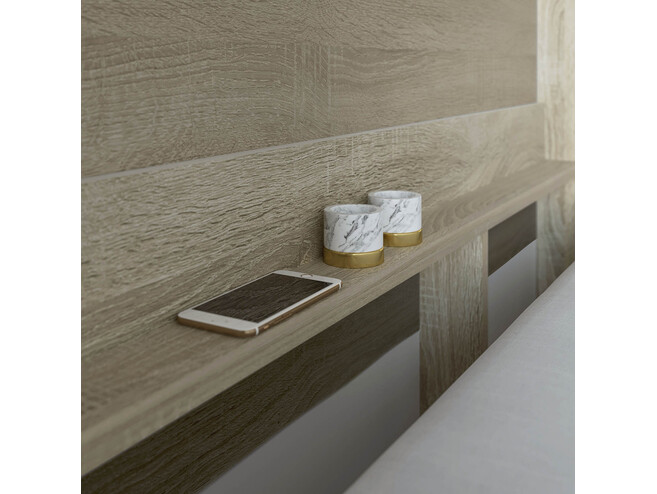 Folding wall bed SMARTBett 160cm Oak Sonoma/White high glossy front