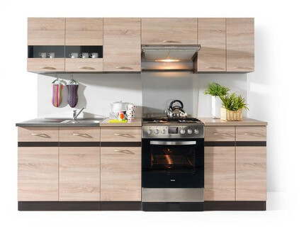 Kitchenette Junona 240 cm in color oak Sonoma / oak Sonoma