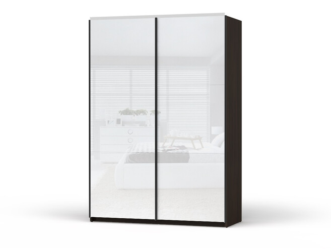 Sliding Door Closet Colin Width 153 Cm Venge With White Gloss Fronts