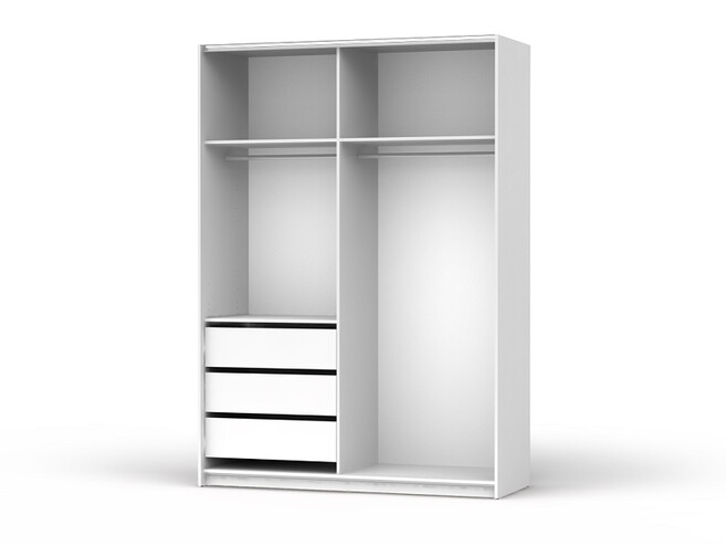 Sliding door closet with 3 drawers  Colin width 153 cm White / White gloss fronts